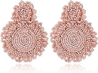 Beaded Statement Drop Earrings for Women Bohemian Beaded Round Dangle Flower Stud Earrings Jewelry