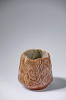 Florero de cerámica vintage rústico hecho a mano con adornos florales Decoración del hogar para flores