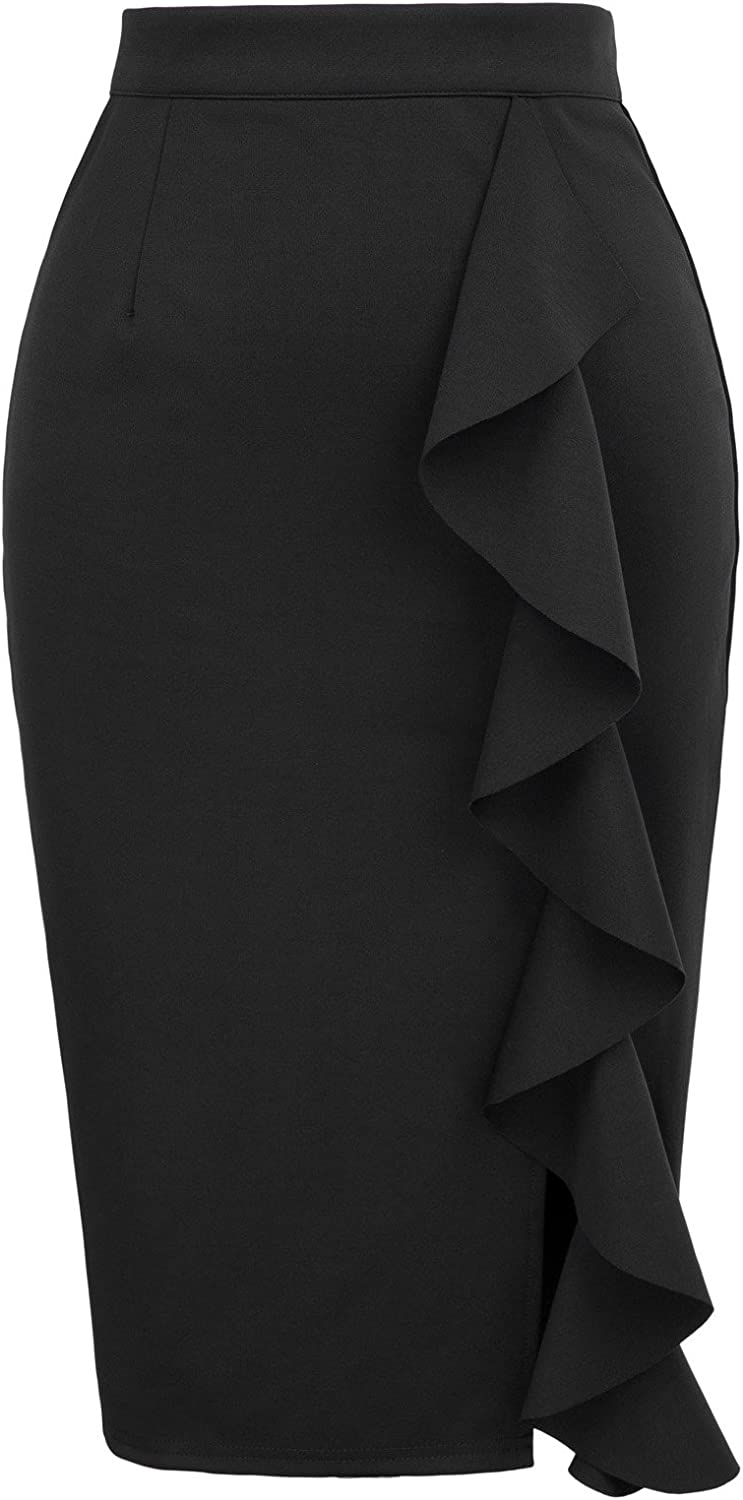 GRACE KARIN Women's Ruffle Office Wear Slim Fit Vintage Pencil Skirt
