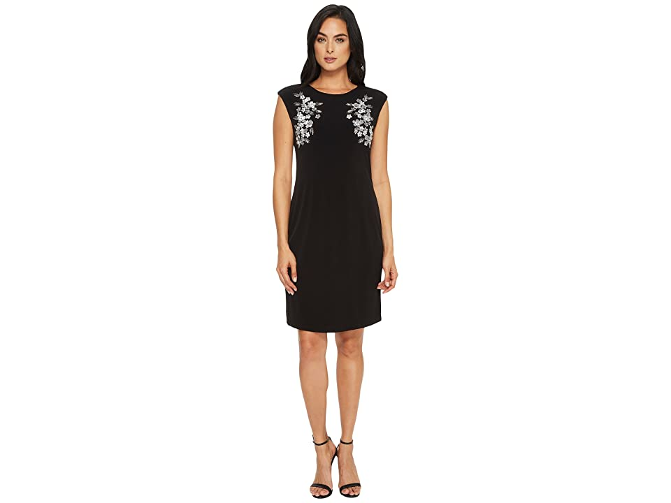 Calvin Klein Sleeveless Sheath Dress with Floral Appliques (Black) Women