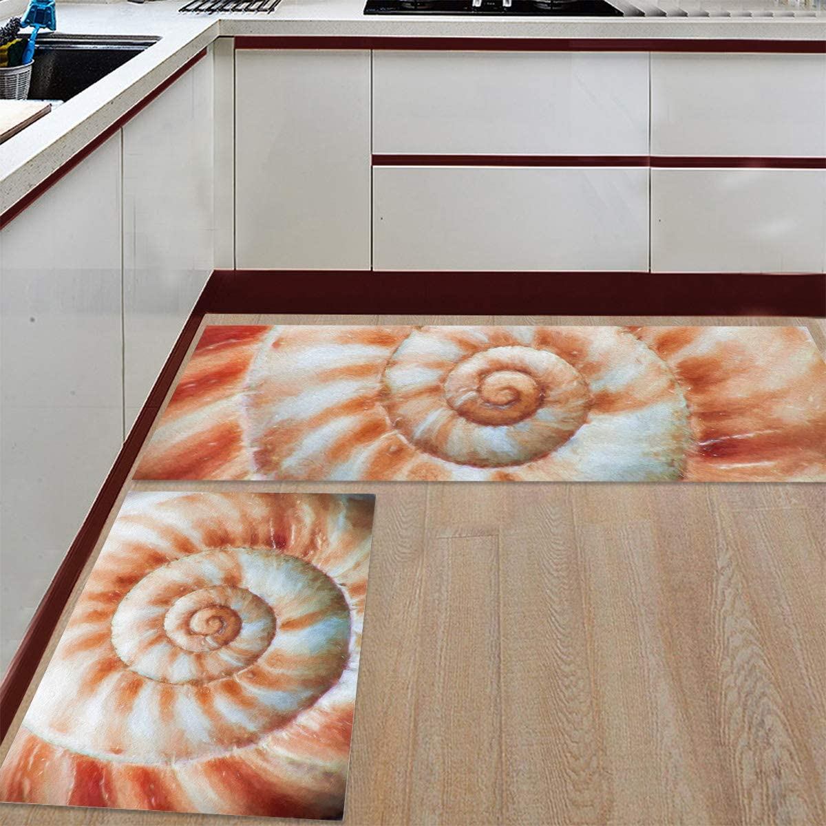 Advancey 2 Pieces 5% OFF Anti-Slip New color Kitchen Lively Texture Seashell Mats