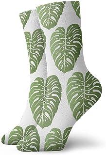 Calcetines deportivos para hombre y para mujer Patrones sin fisuras de plantas tropicales Calcetines divertidos de poliéster 30 cm