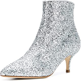 XYD Women Glitter Sequins Mid Kitten Heel Ankle Boots Pointed Toe Prom  Party Dress Booties f46f2b03f6c3