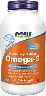 NOW Foods NOW Supplements, Omega-3 180 EPA / 120 DHA, Molecularly Distilled, Cardiovascular Support*, 200-Fish Gelatin Sof...