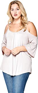 Modern Kiwi Solid Off-The-Shoulder High Low Plus Size Tunic Top (1X