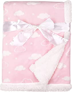 """American Baby Company Heavenly Soft Sherpa/Chenille Receiving Blanket, 3D Cloud Pink, 30"""" x 35"""", for Girls"""
