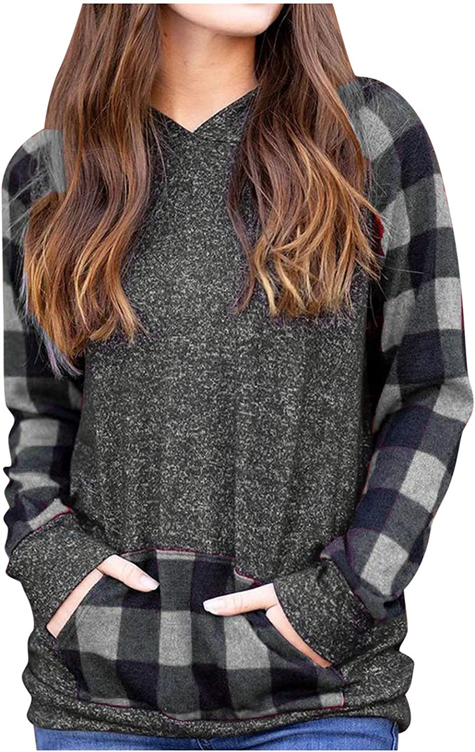 Plaid Long Sleeve Shirts for Selling rankings Women Max 43% OFF Neck Drawstring Casual Patc V