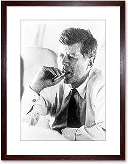 9x7 '' PHOTO PRESIDENT JOHN KENNEDY SMOKE CIGAR JFK FRAMED ART PRINT F97X1759