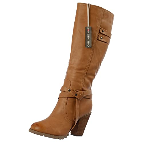 93bc13ff942 Onlineshoe Women s Ladies Tall Knee High Biker Boots with Straps and Heel