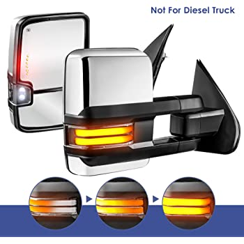 DEDC Chrome Tow Mirrors for Chevy Silverado GMC Sierra 2014-2017 Power Heated with Signal Light Reversing Lights
