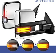 MOSTPLUS Power Heated Towing Mirrors for Chevy Silverado GMC Serria 2014-2018 w/Sequential Turn light, Clearance Lamp, Running Light(Set of 2) Not for diesel truck (Chrome)