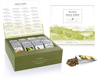 Tea Forte Classic Teas Single Steeps Tea Chest Variety Gift Box, Loose Tea Sampler with 28 Assorted Teas, Black Tea, Green...