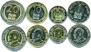 Kenya UNC 4 Coins Set 1-20 SHILLINGS 2005 Collectible Coins to Your Coins Album, Coin Holders OR Coin Collection