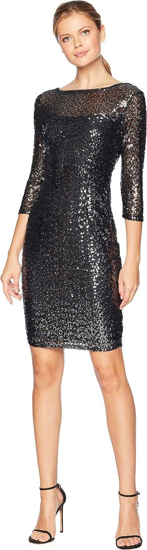 Marina Womens Short Slim Sequin Dress with 3/4 Sleeves and V-Back Gunmetal 16
