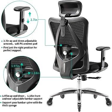 XUER Ergonomics Office Chair Mesh Computer Desk Chair,Adjustable Headrests Chair Backrest and Armrest's Mesh Chair (Black