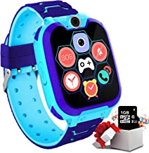 "Kids Game Smartwatch for Boys Girls – Kids Smart Watch with Call SOS Camera 7 Games Alarm Clock Music Record 1.54"" Touch Screen with [1GB Micro SD Card] Wrist Watch for Children Birthday Gifts (Blue)"