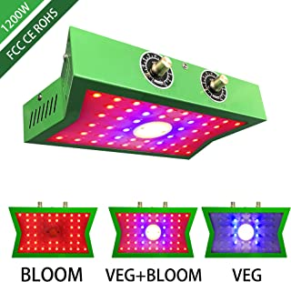 COB LED Grow Light 1200W, Adjustable Veg&Bloom Switch Full Spectrum Growing Lamps Double Chips for Indoor Plants Hydroponics Greenhouse Fruits Veg and Flowers Growing Light Fixtures