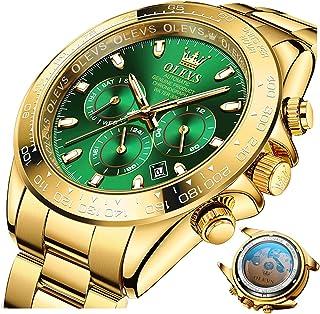 Relojes para Hombres Oro Relojes mecánicos Hombres Day-Week-Date Ventana-Acero Inoxidable Correa Oro
