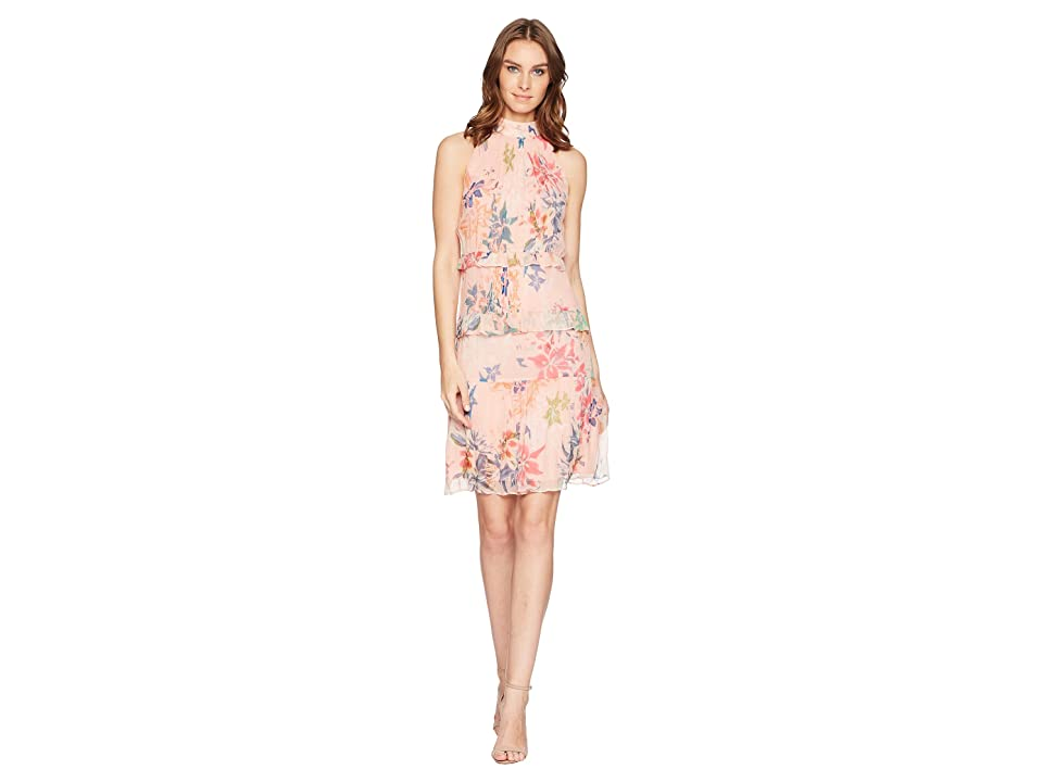 Nicole Miller Mock Neck Dress (Blush Multi) Women