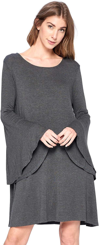 12 Ami Genuine Max 45% OFF Bell Sleeve Loose Flowy Midi Mad - Dress T-Shirt S-XXXL