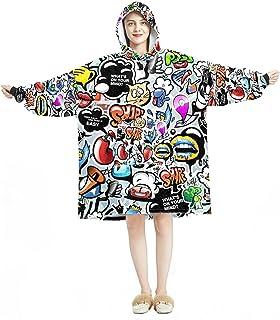Oversized Hoodie Blanket Sweatshirt, Sherpa Flannel Wearable Blanket Hoodies with Pocket for Adults Men Women, Cartoon Gra...