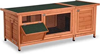 Lovupet Wooden Outdoor Indoor Guinea Pig Cage Bunny Rabbit Hutch with Feeding Trough Coop Pet House for Small Animals with Six Legs
