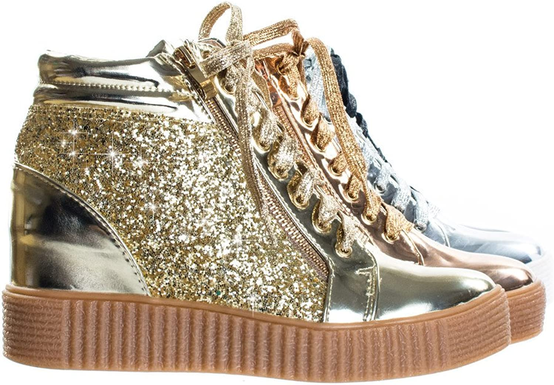 Forever Link Regan-14 Retro Glitter Oxford Lace Up Platform Wedge Creeper, Women Sneaker