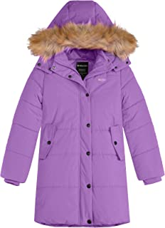 Wantdo Girl's Winter Coat Thick Padded Long Winter Jacket Parka with Fur Hood