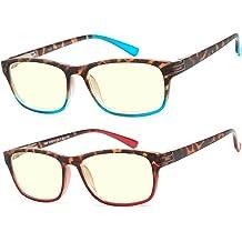 0f4f0e1418 Computer Glasses 2 Pair Anti Glare Anti Reflection Spring Hinge Ombre Color  Computer Reading Glasses for