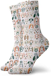 tyui7, Acuarela Perros de todo tipo Calcetines de compresión antideslizantes Calcetines deportivos acogedores de 30 cm para hombres, mujeres, niños