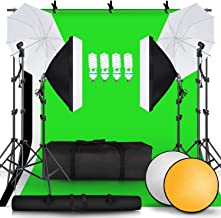SH 2.6M x 3M/8.5ft x 10ft Background Support System and 4 x 85W 5500K Bulbs, Umbrellas Softbox Continuous Lighting Kit for...