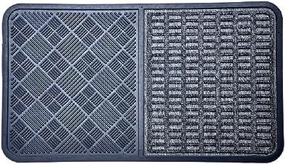 "Imports Decor Synthetic Rubber Door Mat, 16"" x 28"", Grey"