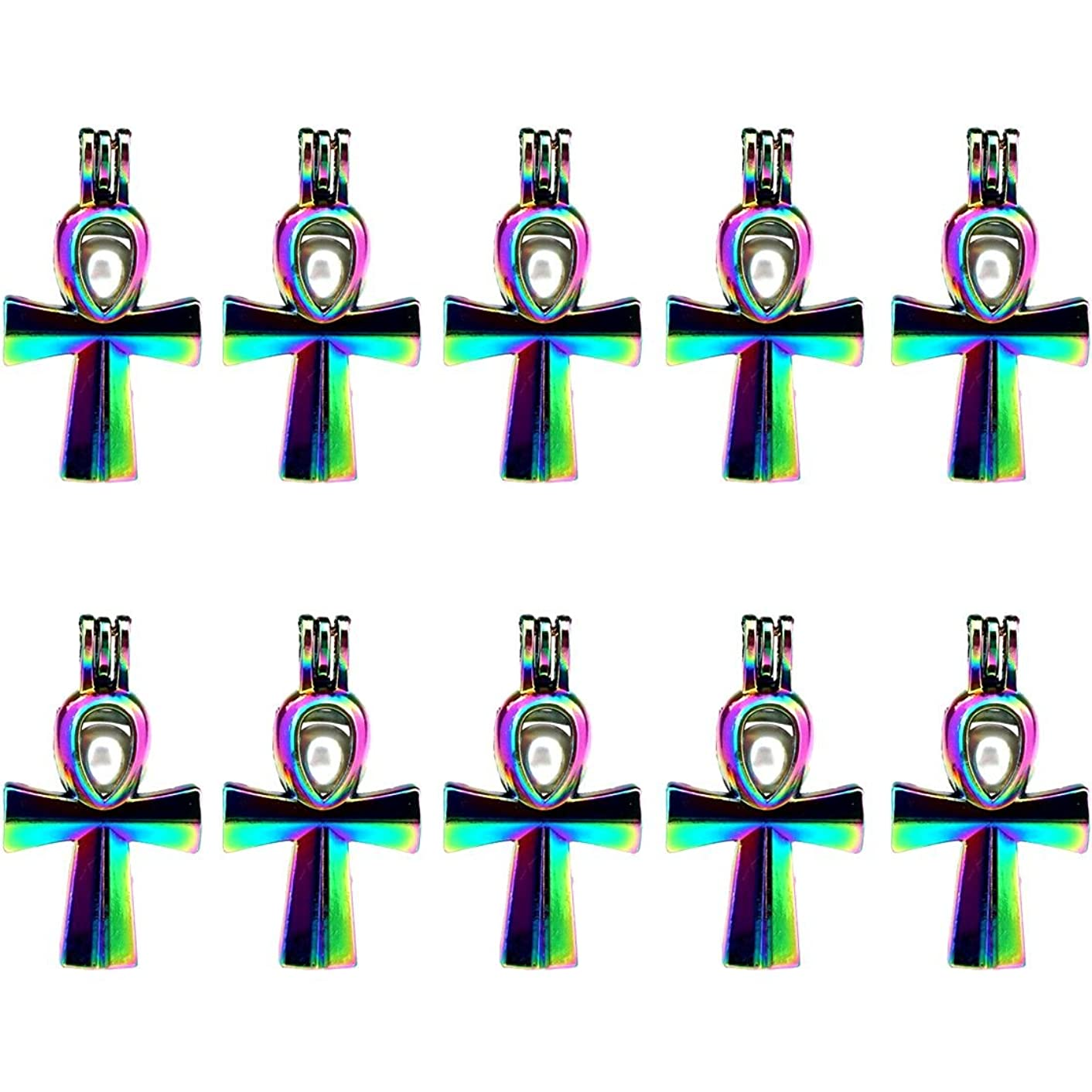 (10 Pack) Rainbow Color Cross Beads Cage Locket Pendant Charms