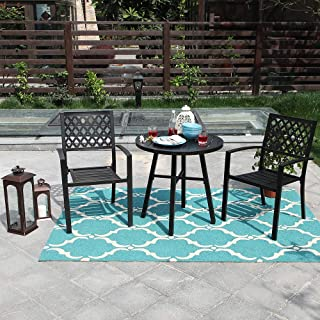 PHI Villa Metal 3 Piece Bistro Furniture Set Outdoor Patio Set fits Garden Backyard Coffee Table 2 x Chair,1 x Table