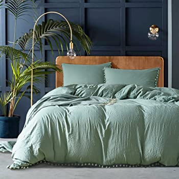 Amazon.com: JELLYMONI Green Stripe 100% Washed Cotton Duvet Cover Set, 3  Pieces Luxury Soft Bedding Set with Buttons Closure, Solid Color Pattern Duvet  Cover Queen Size(No Comforter): Kitchen & Dining