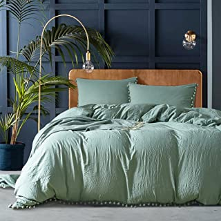 Luxury Quality Stone Washed Microfiber Green Duvet Cover Queen Size 3 Pcs Set (1 Duvet Cover, 2 Pillowcases) Ball Fringe Pattern Design Soft Comforter Cover Quilt Case Hypoallergenic - Solid Bedding
