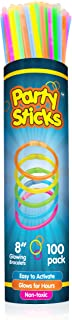 Best PartySticks Glow Sticks Party Supplies 100pk - 8 Inch Bulk Glow Light Up Sticks Party Favors, Glow in the Dark Party Decorations, Neon Party Glow Necklaces and Glow Bracelets with Connectors Reviews