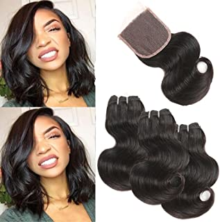 Brazilian Body Wave Human Hair 3 Bundles with Lace Closure Body Wave 3 Bundles with Closure 8A Short Body Wave Bundles Free Part Lace Closure Natural Color 50g/pcs 8 8 8 with 8 Free Part