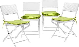 Relaxdays Juego de 8 Cojines Sillas Jardín Cuadrados, Poliéster, Verde, 38x38 cm