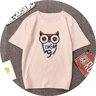 Cute Owl Love Printed Cotton Spandex Soft T Shirt Shirts O Neck Short Sleeve Summer T-Shirt Tops Casual Tshirt