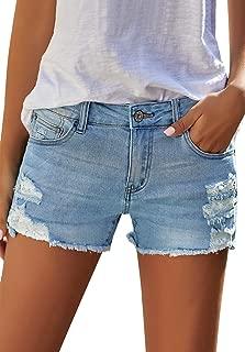ACKKIA Womens Hot Shorts Summer Mid Rise Frayed Ripped Stretchy Denim Jean Short