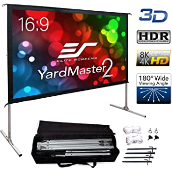 """Elite Screens Yard Master 2, 90-inch Indoor Outdoor Portable Fast Folding Projector Screen with Stand 16:9, 8K 4K Ultra HD 3D Movie Theater Cinema 90"""" Foldable Rear Projection Screen, OMS90HR3"""