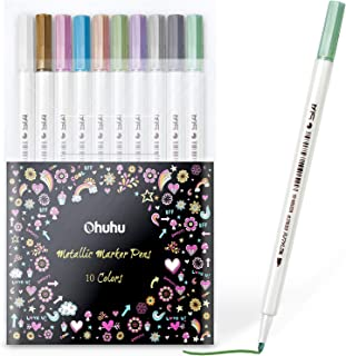 Metallic Markers Glitter Paint Pen Fine Tip, Ohuhu Set of 10 Premium Window Marker for DIY Card Making, Coloring Books, Scrapbook Photo Album, Rock Art, Glass Mother`s Day Back To School Gifts