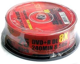 Aone DVD+R 8X 8.5GB DL Dual Layered Logo OVERBURN Cake Box 25 Blank Discs
