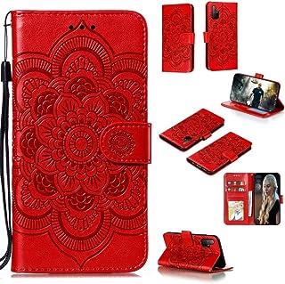 携帯電話ケース Huawei Honor 30Sマンダラエンボスパターン水平フリップPUレザーケースホルダー&カードスロット&Walle&Lanyard (Color : Red)