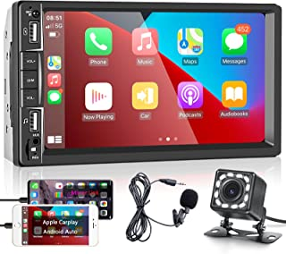 $98 » podofo Double Din Car Stereo Compatible with Apple Carplay and Android Auto, 7 Inch Touchscreen Car Stereo with Bluetooth,...