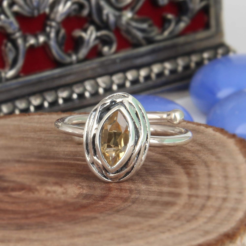 Natural Yellow Fashion Citrine Gemstone 925 New mail order Rin Silver Stacking Handmade