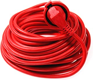 as - Schwabe Kunststoff-Verlängerung – 25 m Verlängerungskabel – 230 V, 16 A Verlängerungsleitung mit Schuko / Euro Stecker und Kupplung – Stromverlängerungskabel für Innenbereich – IP20 – Rot I 60361