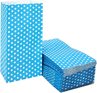 50 PCS Blue Kraft Paper Bags Mini Paper Bags Polka Dot Favor Bags for Snack Nuts Goodie Treat Bags for Kids' Birthday Wedding Party Favor Bags (3.5 x 2.3 x 7 in Light Blue)