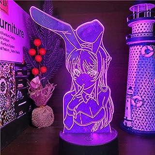 Luces de noche LED de ilusión 3D con diseño de conejito Niña Senpai MAI SAKURAJIMA Kawaii Anime Light LÁMPARA 16 Lampara Cambio de Color para Regalo de Navidad